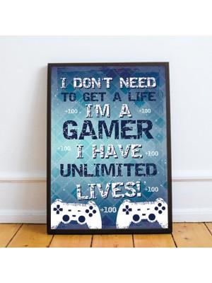 Gaming Print For Playstation Fan Hanging Gaming Sign Framed