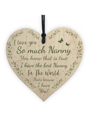 Nanny I Love You Wooden Heart Thank You Nan Gift For Birthday
