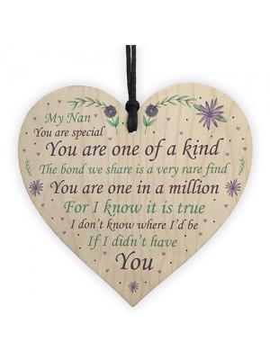 Thank You Nan Gift Wooden Heart Nan Birthday Christmas Poem Gift