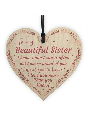 Beautiful Sister Wood Heart Special Gift For Sister Birthday