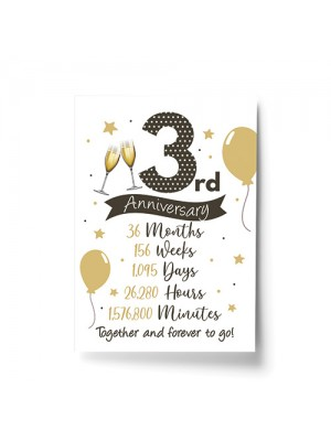 3rd Wedding Anniversary Gift Print Mr & Mrs Anniversary Gifts