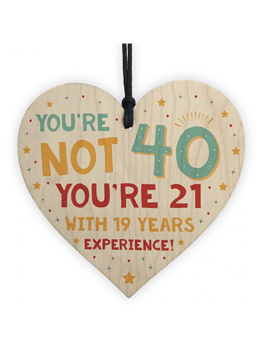 40th Birthday Gift Wooden Heart 40th Decoration 40 Forty Today
