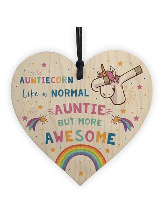 Auntiecorn Wood Heart Unicorn Gift For Auntie Birthday Christmas