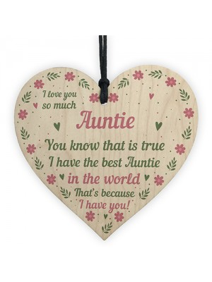 Best Auntie Gift Wooden Heart Birthday Xmas Gifts For Auntie