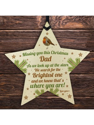 Dad Robin Memorial Chirstmas Tree Bauble Wood Star Xmas Decor