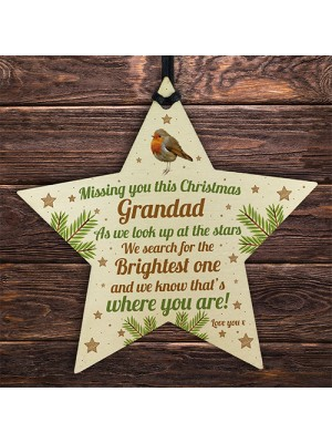 Grandad Robin Memorial Chirstmas Tree Bauble Wood Star Xmas Gift