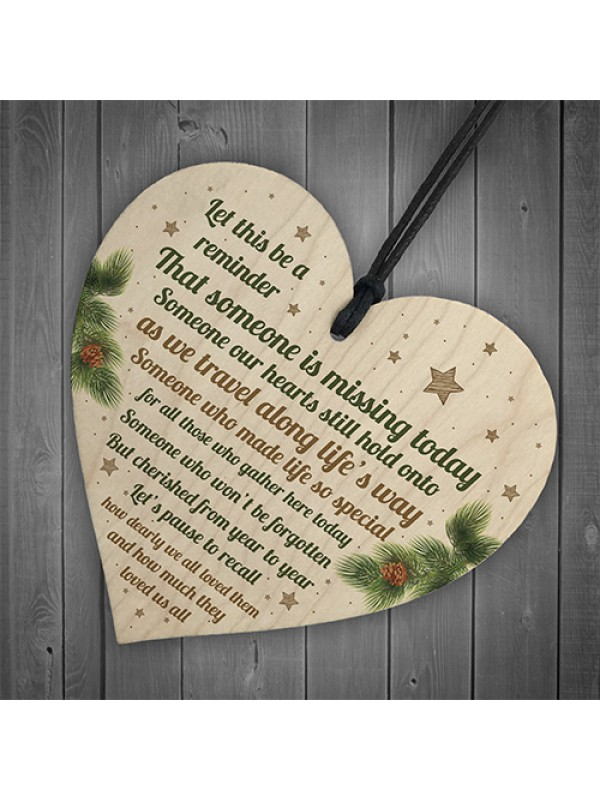 Christmas Wooden Heart Tree Bauble Decoration Xmas Memorial Gift