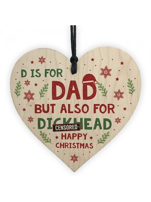 Funny Christmas Gift For Dad Wooden Heart Novelty DAD Gift
