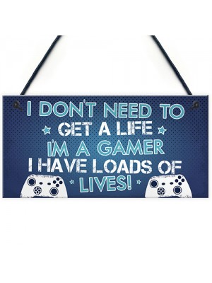 Blue Gaming Sign Boys Bedroom Sign Novelty Birthday Gift For Son
