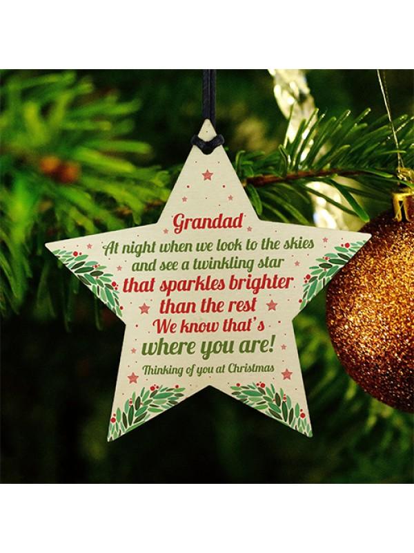 Christmas Star Tree Bauble Decoration Xmas Memorial Grandad Gift