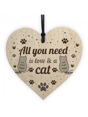 All You Need Is Love And A Cat Gift Cat Sign Hanging Heart Decor
