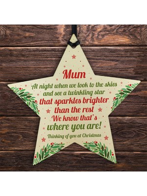 Christmas Star Tree Bauble Decoration Xmas Memorial Gift For Mum
