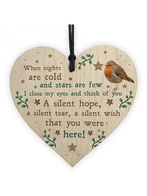 Robin Christmas Memorial Bauble For Mum Nan Dad Grandad Heart