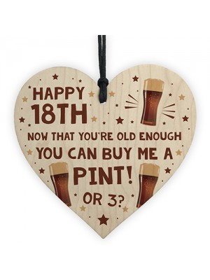 Funny 18th Birthday Gift For Son Daughter Wood Heart Alcohol