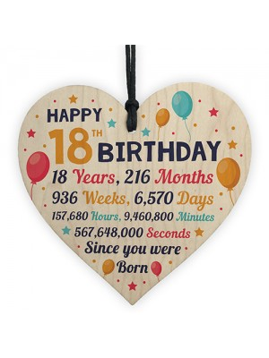 18th Birthday Gift For Daughter Son Wooden Hanging Heart 18