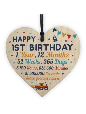 Happy 1st Birthday Gift For Daughter Son Wooden Heart Decoration