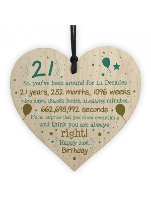 21st Birthday Gift For Daughter Son Wood Heart Twenty One Gift