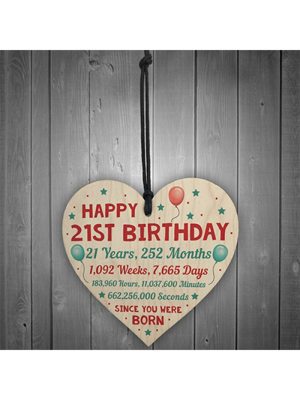 Funny 21st Birthday Card Wooden Hanging Heart Twenty One Gift