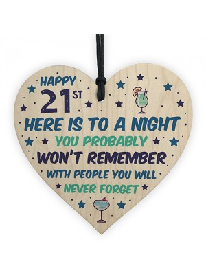 21st Birthday Gift Funny Wooden Hanging Heart Decoration 21 Sign
