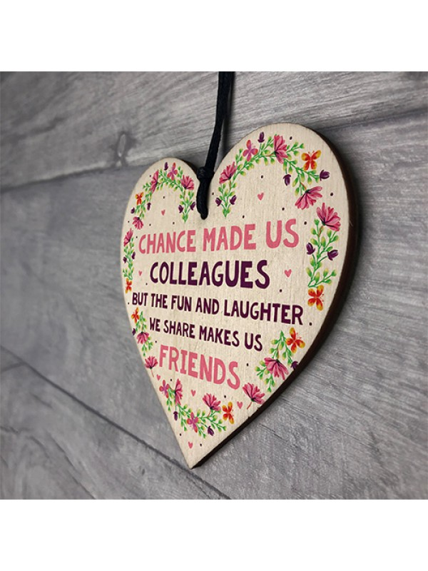 Chance Made Us Colleagues Wood Heart Leaving Gift Co Worker Gift