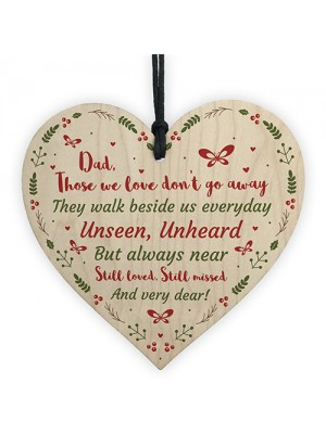 Christmas Memorial Bauble Dad Wood Rememberance Heart Tree Decor