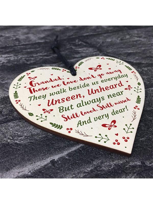 Handmade Memorial Gift Wood Heart Remembrance Plaque For Grandad
