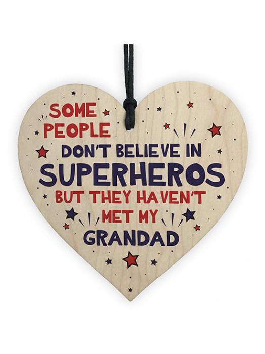 Grandad Birthday Christmas Gift Superhero Theme Wooden Heart