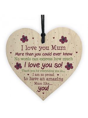 Handmade Mum Gifts From Daughter Or Son Wooden Heart Keepsake