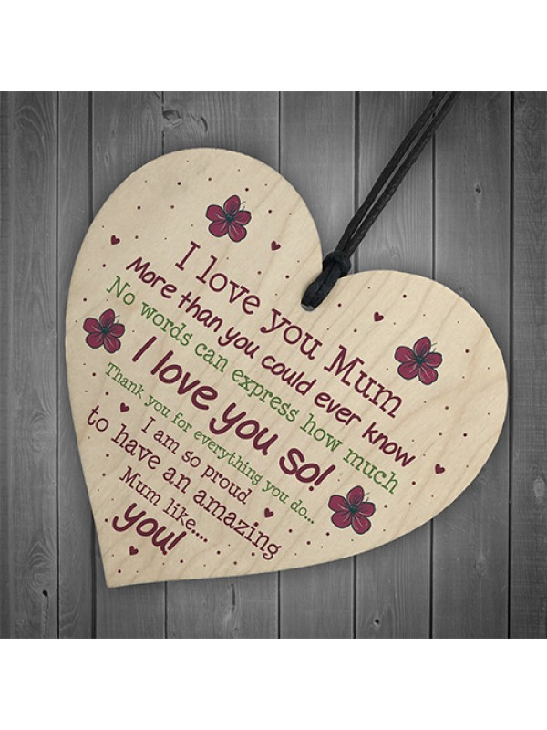 Handmade Mum Gifts From Daughter Or Son Wooden Heart Keepsake