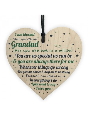 Gift For Grandad Wooden Heart Grandad Birthday Christmas Gifts