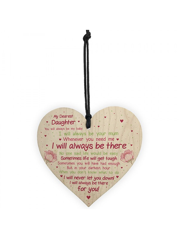 Daughter Gift Motivational Sign Wooden Heart Gift For Daughter