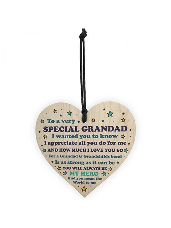 Grandad Gift Wooden Heart Birthday Christmas Gift For Grandad