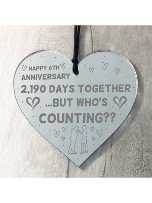 Funny 6th Anniversary Gift For Boyfriend Girlfriend Wood Heart