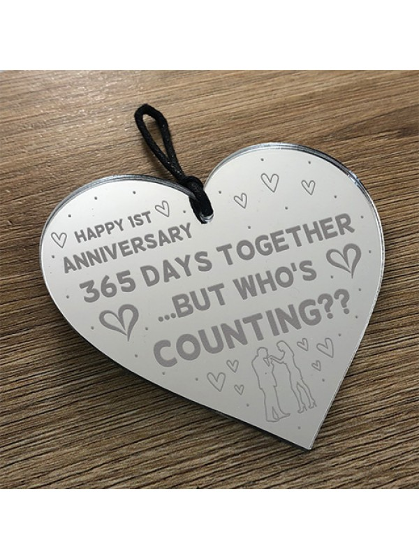 Funny 1st Anniversary Gift For Boyfriend Girlfriend Wood Heart