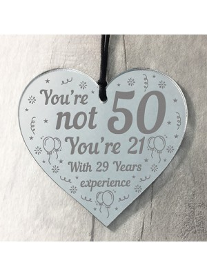 50th Birthday Gift Mirrored Acrylic Heart Birthday Gifts For Him
