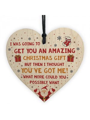 Funny Christmas Gift For Mum Dad Sister Brother Wooden Heart