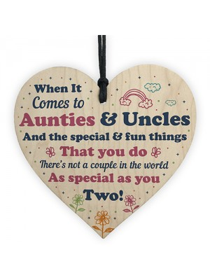 Auntie And Uncle Gifts Wooden Heart Auntie Uncle Birthday Xmas