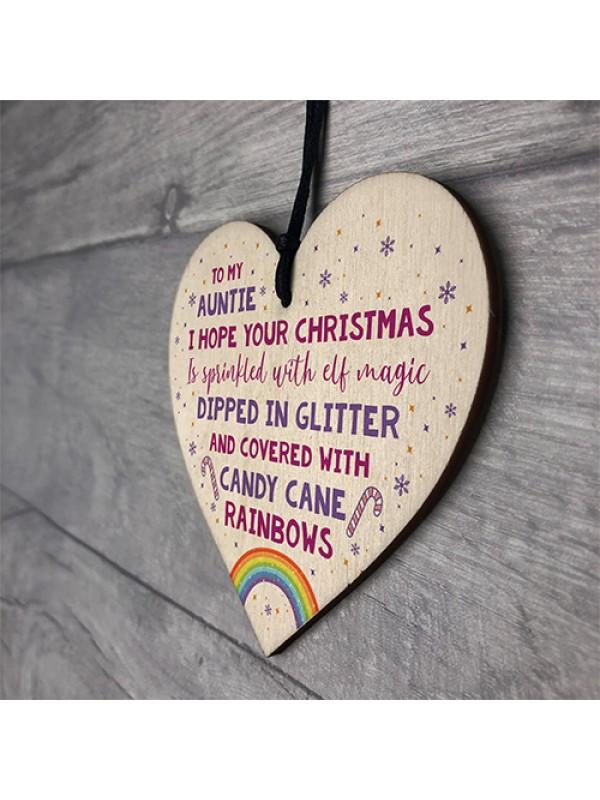 Auntie Plaque Wooden Heart Auntie Birthday Christmas Gift