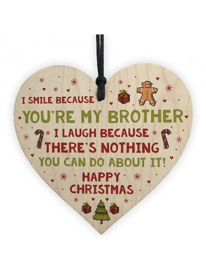 Novelty Brother Christmas Gift Wooden Heart Quirky Brother Gifts