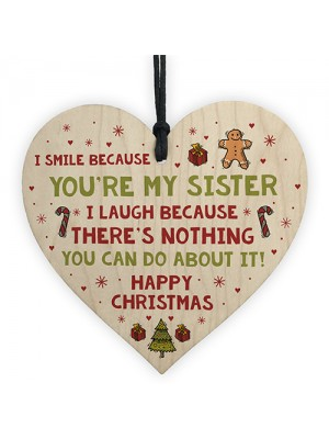 Novelty Sister Christmas Gift Wooden Heart Quirky Sister Gifts