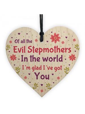 Handmade Stepmum Gifts Wooden Heart Funny Stepmum Birthday Gift