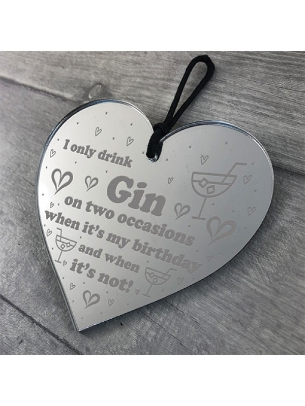 Handmade Hanging Heart Plaque Gift For Gin Lovers Gin Sign