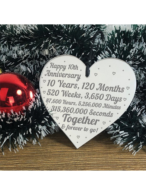 10th Anniversary Gift For Him Her 10th Wedding Anniversary Heart