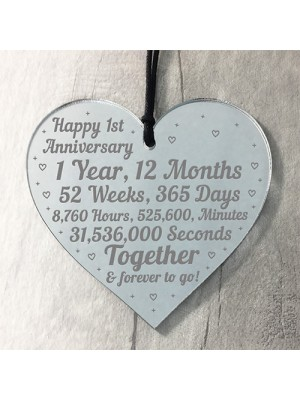 1st Anniversary Gift For Him Her 1st Wedding Anniversary Heart