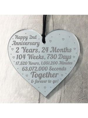 2nd Anniversary Gift For Him Her 2nd Wedding Anniversary Heart