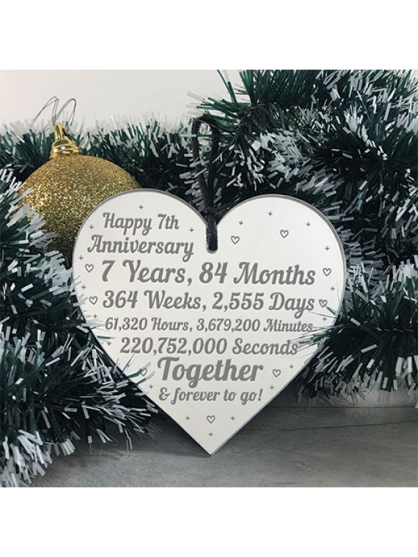 7th Anniversary Gift For Him Her 7th Wedding Anniversary Heart