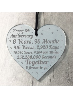 8th Anniversary Gift For Him Her 8th Wedding Anniversary Heart