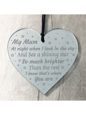 Mum Memorial Gift Engraved Mirror Acrylic Heart Christmas Gifts
