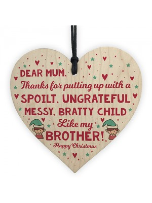Funny Mum Gift For Christmas From Sister Brother Wooden Heart