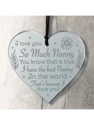 Nanny Christmas Gifts Mirror Acrylic Heart Birthday Gifts